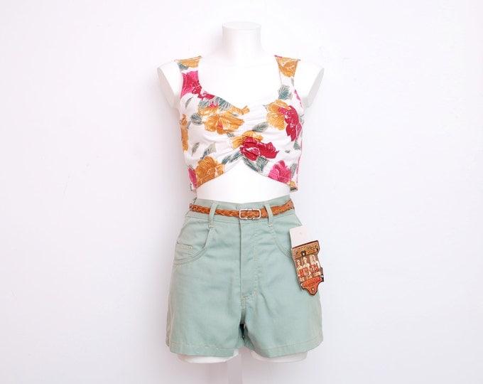 Dead stock Vintage Denim Shorts pastel green high waist Size S