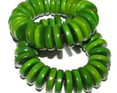 25 Forest Green Tagua Nut Beads, 13mm Rondell Beads, FD, EcoBeads, Natural Beads, Organic Beads, Vegetable Ivory Beads