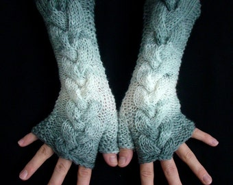Fingerless Gloves Grey White Shades Cabled  Acrylic Arm Wrist Warmers