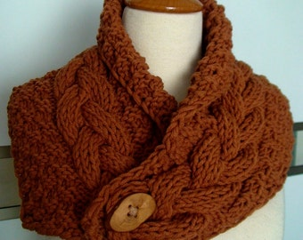 Cowl Neck Warmer Scarf Brown Handknit Cabled Warm  Chunky  and Thick