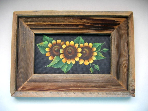Yellow Sunflowers, Framed in Primitive and Rustic Barn Wood, Tole Painted, Wall Hanging, CIJ