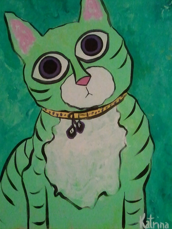 Barbra, the Wide-eyed Fetching Cat, Acrylic on Canvas Painting