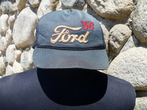 Vintage 70's Ford '56 Trucker Hat with Netted Back and Fastening String on Bill Adjustable One Size Fits All