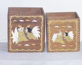 Vintage Wood Box Pair Ornate Japan Oriental Fighting Cock Roosters Storage Box 60s
