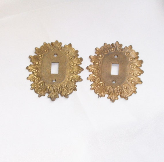 Vintage Light Switch Cover Pair Ornate Brass Metal Shabby Formal 60s 70s