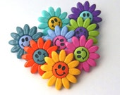 Jesse James Button Fun Smiley Flowers Floral Blossoms Blossams Buttons Bright Novelty Scrapbooking Crafts Apparel