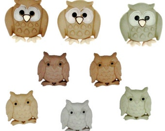 Jesse James Buttons Button  Embellishments Whooo Owls Owl Night Birds
