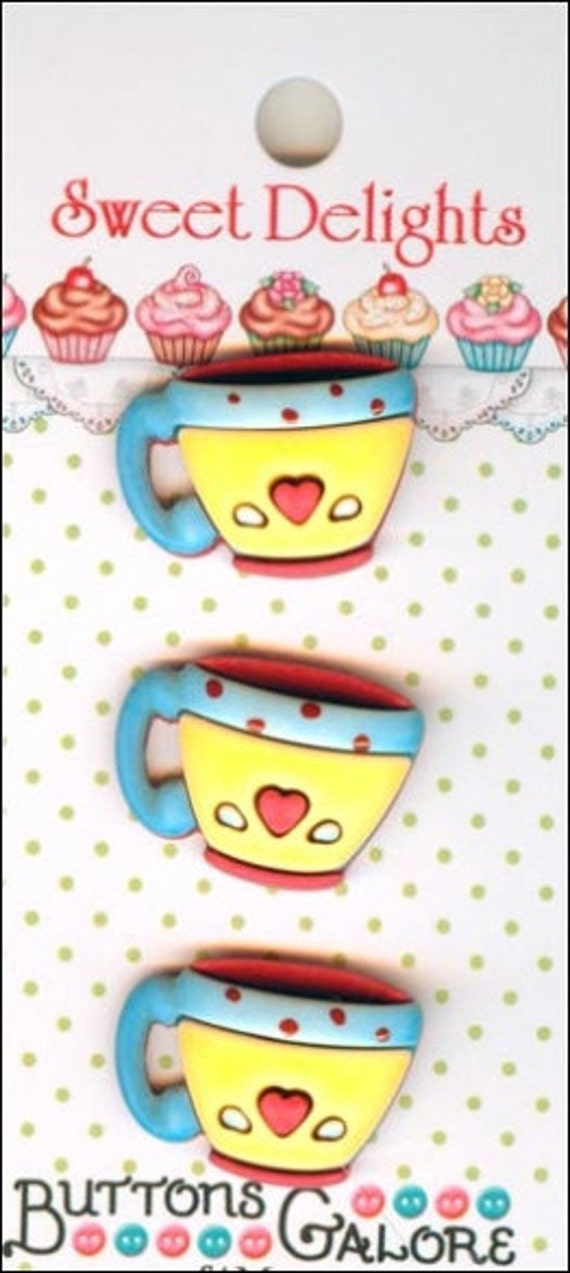 Shank Buttons Buttons Galore Sweet Delights Coffee Cups Tea Novelty Food Kitchen