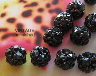 Vintage Swarovski 10mm Jet Black  Rhinestone Beads (2)
