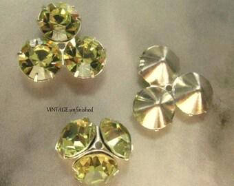 Vintage Swarovski Jonquil Yellow Triple Rondelle 14mm Bead Caps (4)