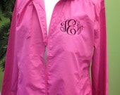 Hot Pink Lightweight  Monogram Coat -  Running Jacket- Sorority Letter Jacket  from The Palm Gifts