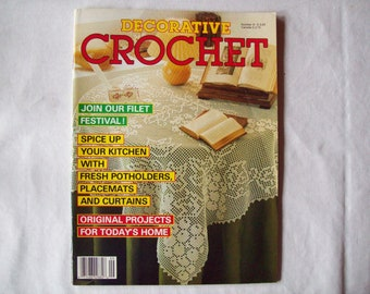 Decorative Crochet Magazine, May 1989 Issue 9  Vintage Crochet Pattern Book, Thread, Doilies, Doily Pattern, Thread Crochet patterns