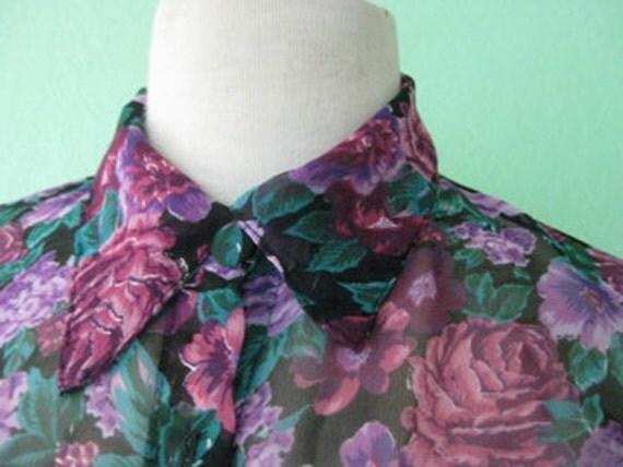 80s shirt - sheer purple rose roses print button up vintage shirt - size large