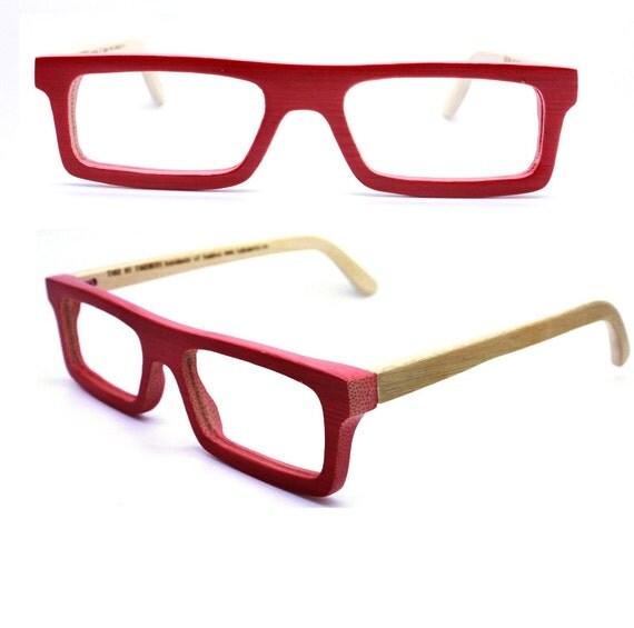 handmade  bamboo  eyeglasses  MJX1201 red turquoise with prescripiton lenses