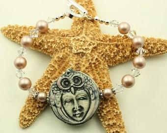 Owl Spirit Bracelet Swarovski Pearls and Crystals OOAK