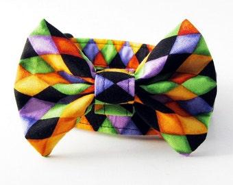 Halloween Argyle Bow Tie Dog Collar Orange Black Purple Green