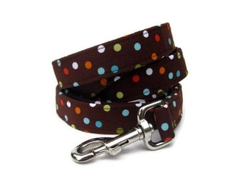 Chocolate Brown Dog Leash - Confetti on Chocolate in 4 Foot, 5 Foot or 6 Foot Lengths