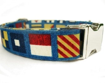 Nautical Flags Dog Collar - with Nickel Plate Hardware