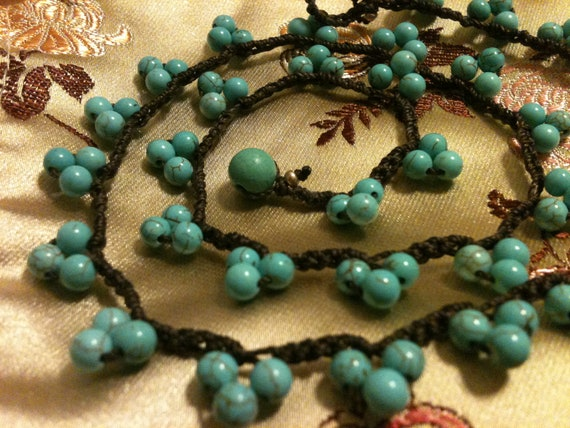 TURQUOISE CLUSTER necklace Rich Brown Thread FrEE US ShiPPing Gift under Thirty Dollars