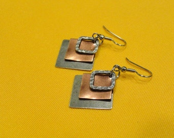 Angle of the dangle silver and copper earrings (Style #243C)