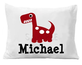 Dinosaur Pillow Case Personalized Pillowcase Girls or Boys