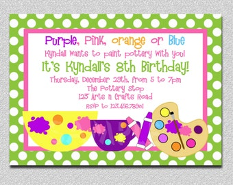 Arts and Crafts Birthday Party Invitation Pottery Birthday Party Invitations Painting Birthday Invitation Printable Boys or Girls