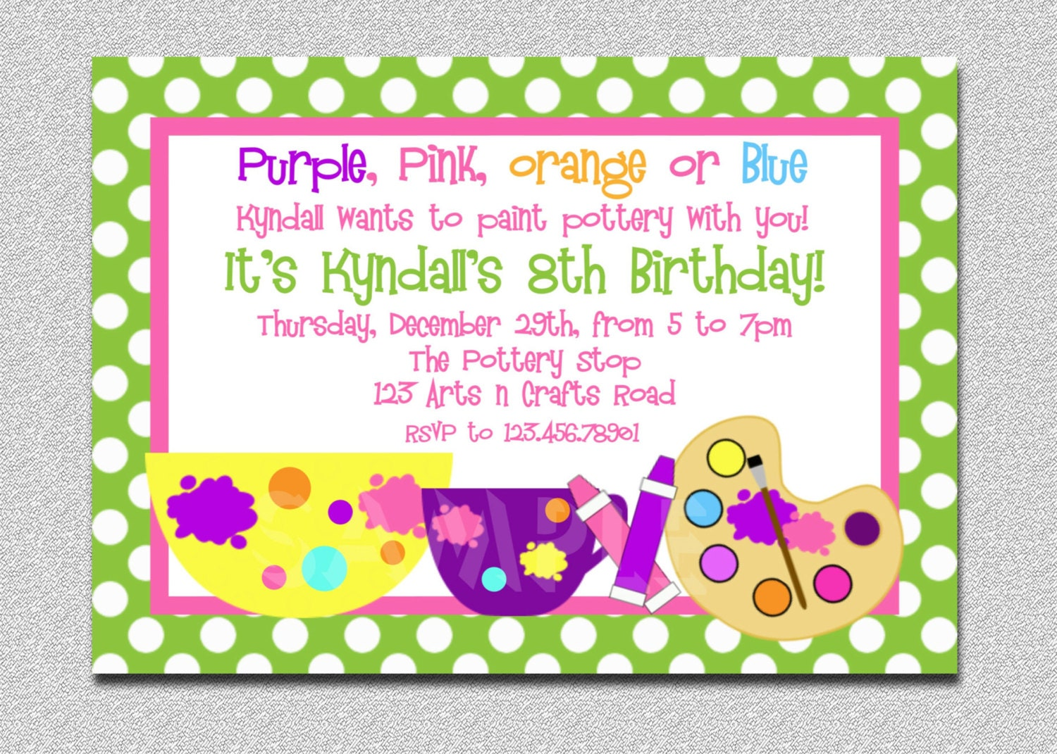 Arts and crafts birthday party invitation pottery birthday for Crafts for birthday parties