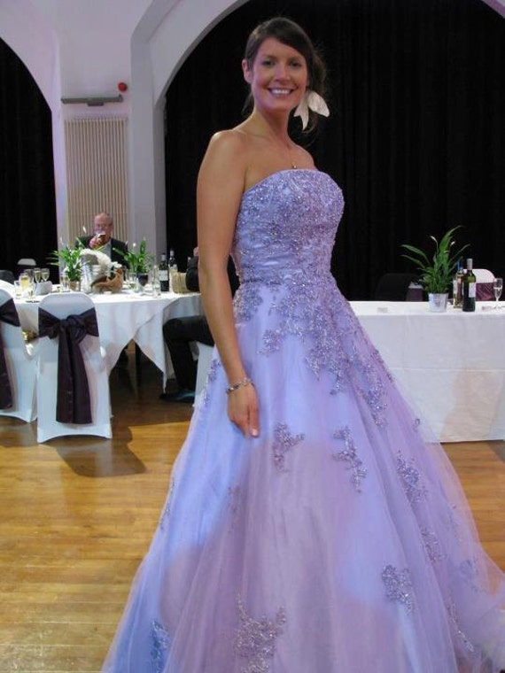 Purple Wedding Dress Strapless with Lavender Lilac Lace