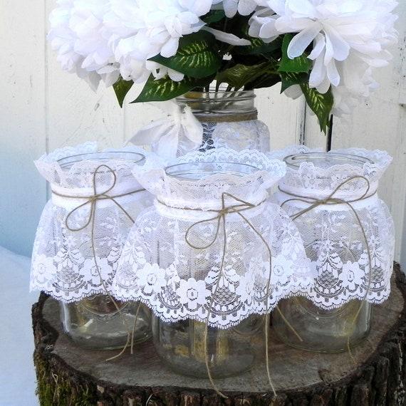 Items similar to rustic lace mason jars centerpiece