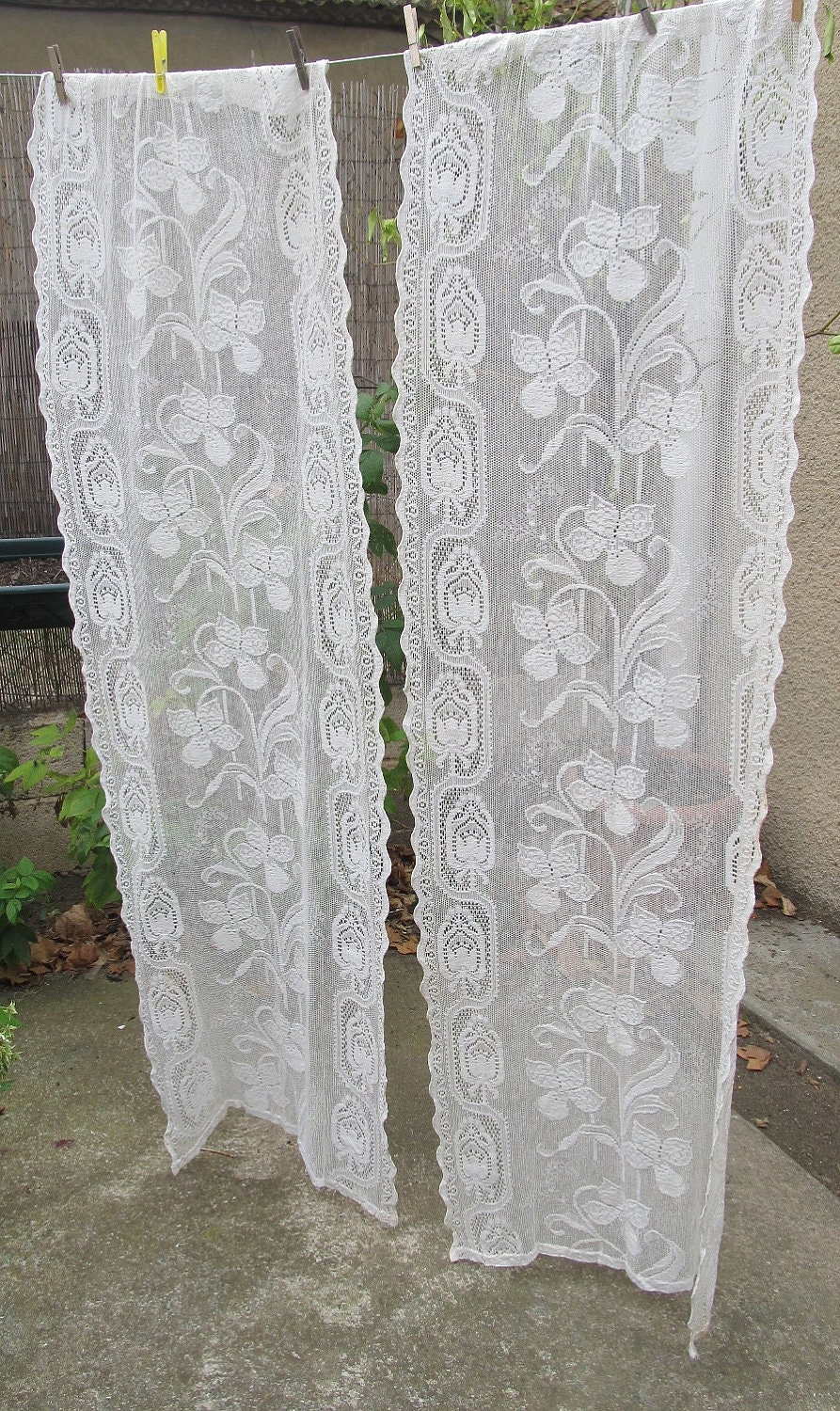 Ecru Vintage Lace Curtains Cream French By Hatchedinfrance