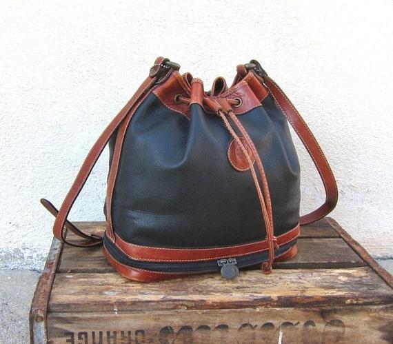 Vintage Black and Cognac  Medium Leather Drawstring Bucket Shoulder Bag by Delane Canada