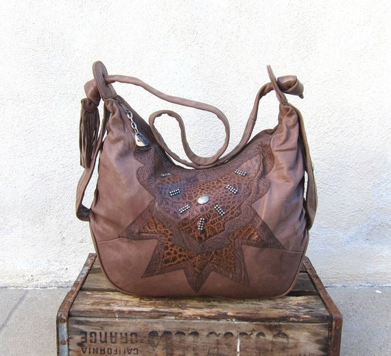 RESERVED Vintage Super Soft Large Taupe Leather Southwestern Hobo w/Silver Stud Detail