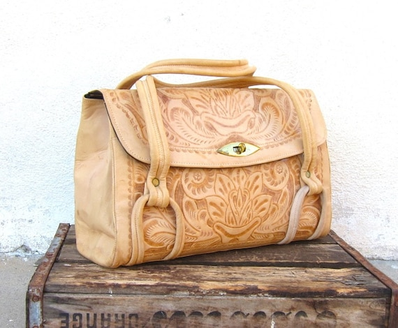Vintage Tooled Tan Leather Leather Handbag