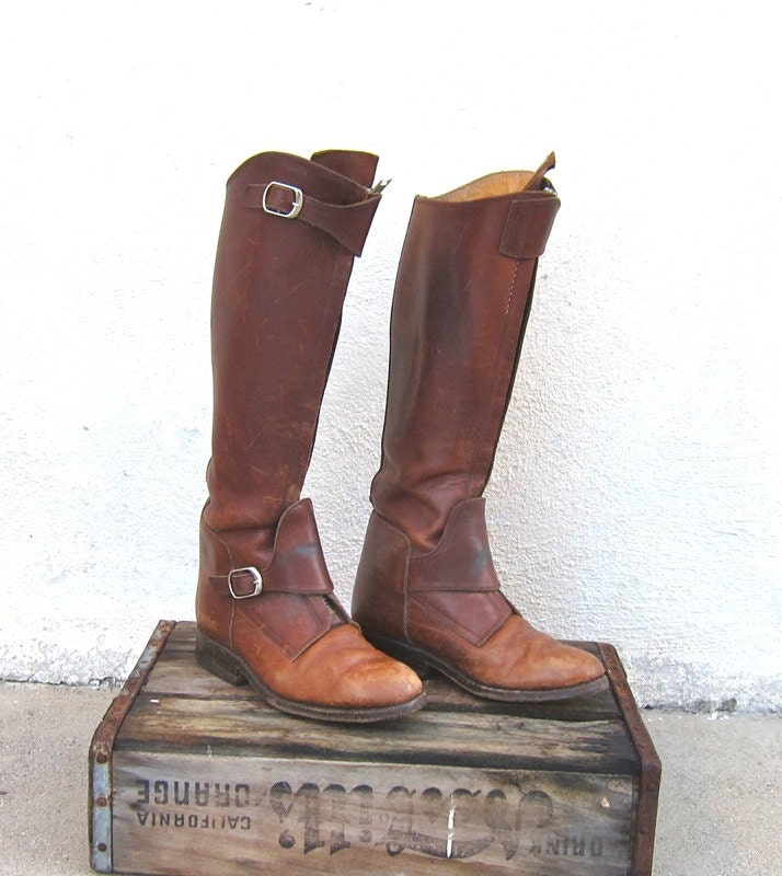 Reserved For Jw Vintage Rugged Brown Leather Polo Riding Boots