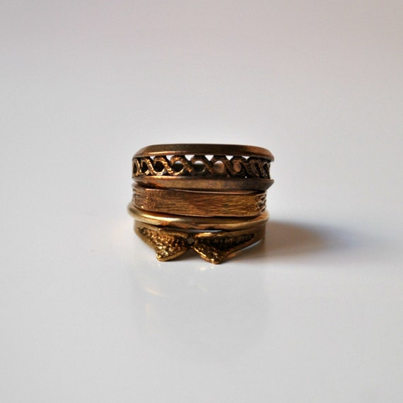 Stacked Rings Bronze Vintage TEXTURED set