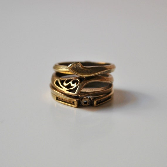 Bronze Stacked Rings Industrial Vintage Set