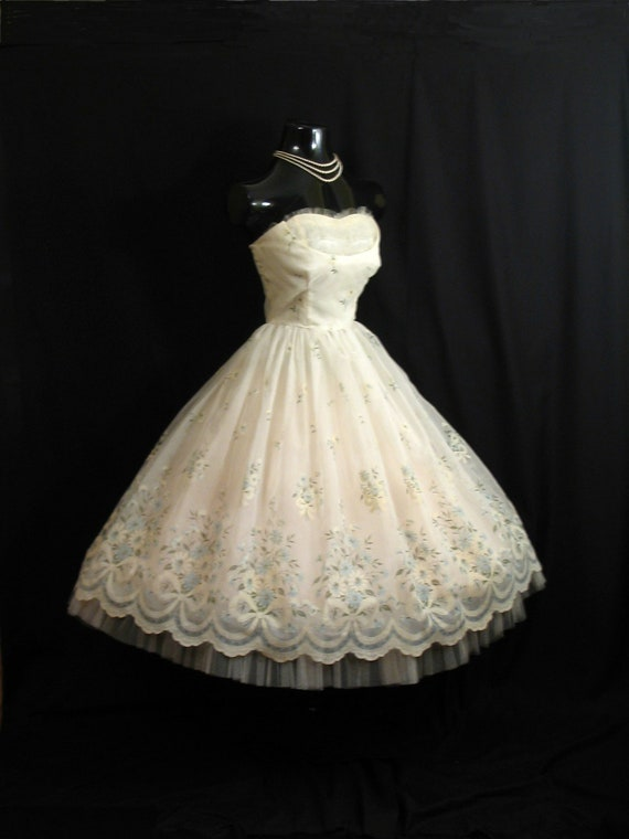Vintage 1950's 50's STRAPLESS Ivory Flocked Floral Chiffon Organza Party Prom Wedding Bridal Dress Gown