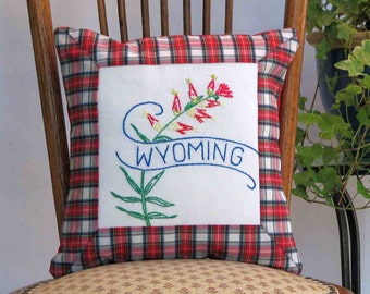 Wyoming flower pillow, vintage embroidery, Indian Paintbrush, cabin, cottage, farmhouse decor--a keepsake gift. Includes pillow form.