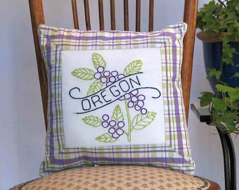 Oregon flower pillow, cabin, cottage, farmhouse decor with vintage hand-embroidered quilt block -- a keepsake gift. Includes pillow form.