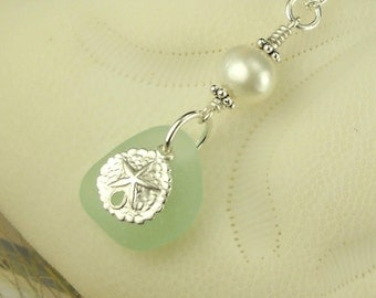 Sea Glass Necklace Aqua With Pearl And Sand Dollar Sterling Silver
