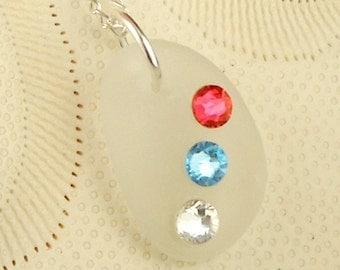 Genuine White Sea Glass Pendant Necklace With Swarovski Crystals