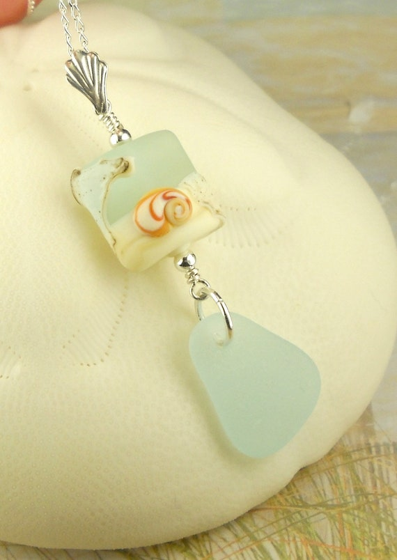 Shell Lampwork Bead And Genuine Aqua Sea Glass Necklace