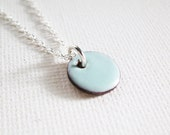 Enamel Pendant Necklace - Robin Egg Blue Circle Enamel Sterling Silver Necklace Enamel Jewelry