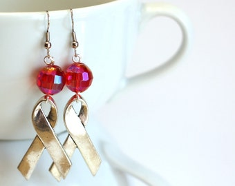 Silver Awareness Ribbon with Large faceted Pink AB Beads Fashion Earrings - 925 sterling silver