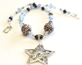 Shooting Star Blue Beaded Necklace - Beaded necklace in blue and leopard beads, chunky fashion jewelry, womens accessories, Trending Jewelry