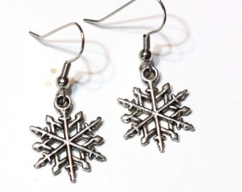 Snowflake Charm Earrings - Winter Christmas Jewelry - Gifts for Her