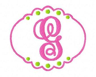 Girly Machine Embroidery with Dots // Monogram Font Design Set // Machine Embroidery Designs, Embroidery Font // Joyful Stitches