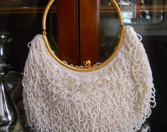 White Beaded Purse from Hong Kong