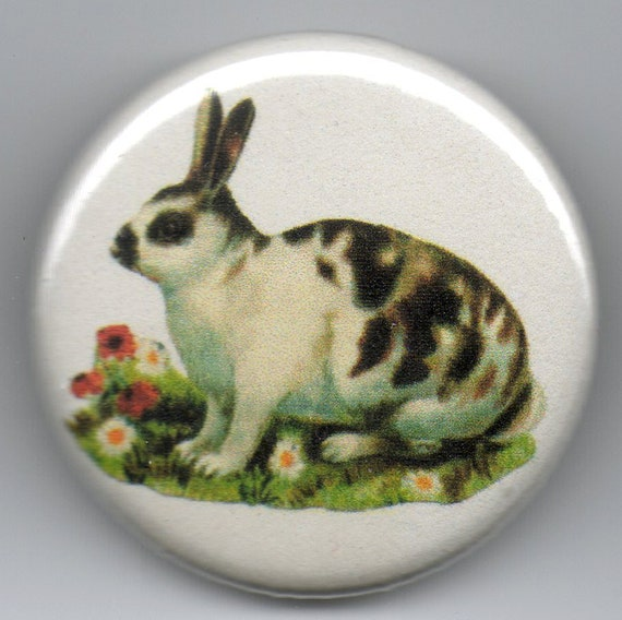 Spotted Rabbit/Bunny 1.25 inch Pinback Button Vintage Illustration