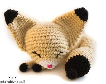Cute Sleepy Fennec Fox Amigurumi Plush Doll Toy  - PRE ORDER